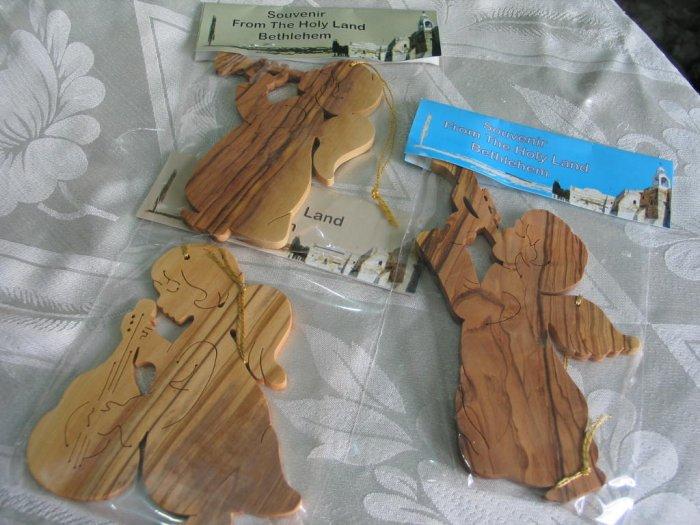 Angel Ornaments Carved Olive Wood Set of 3
