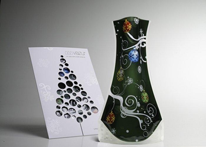 Vazu Expandable Portable Decorative 'Holiday Green' Flower Vase