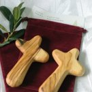 2 Olive Wood Holding Comfort Crosses + Gift Bags