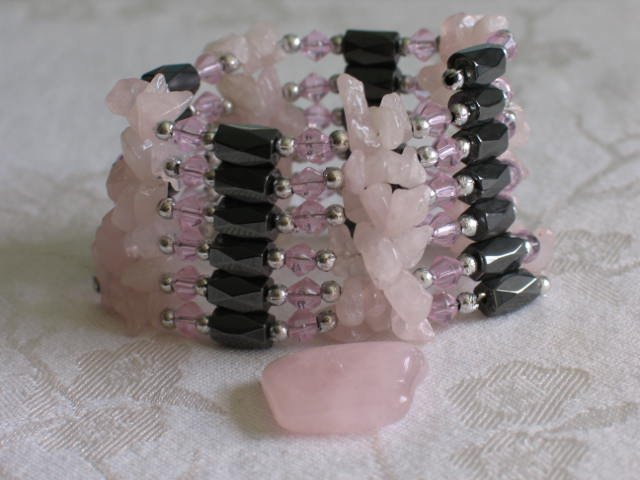 "Magnetic  Wrap Rose Quartz  & Hematite Bracelet or Necklace 36"""