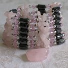 Magnetic  Wrap Rose Quartz  & Hematite Bracelet or Necklace 36""