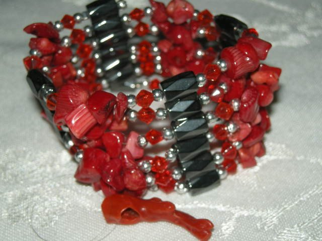 Magnetic  Wrap Red Coral  & Hematite Bracelet or Necklace 36""