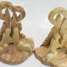 2 Olive Wood Christmas Nativity Scene Ornament With Glowing Candles