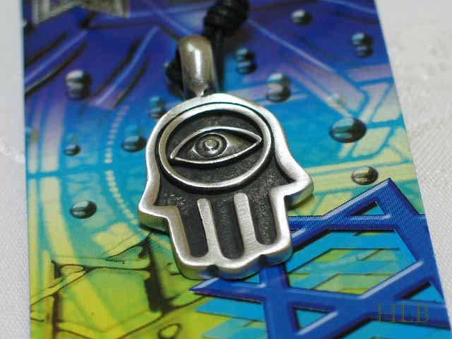 Pewter Hamsa Power Amulet Pendant Necklace