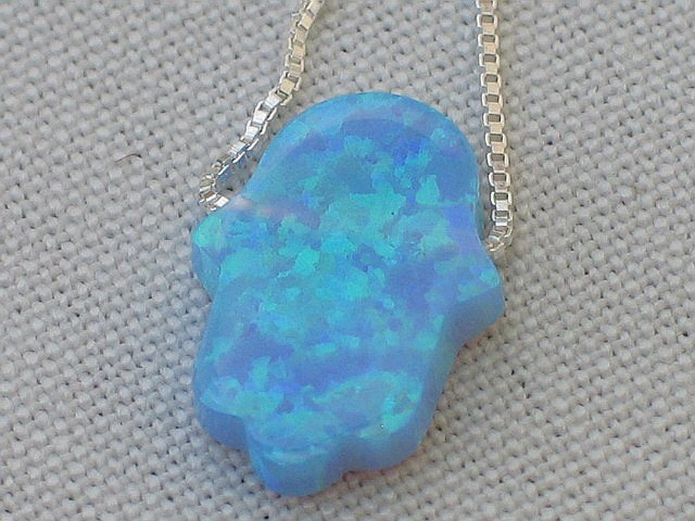 Blue Opal Hamsa Necklace and Silver Chain
