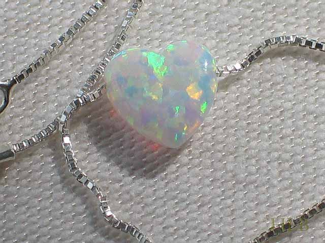 Petite White Heart Opal Necklace with 925 Silver Chain