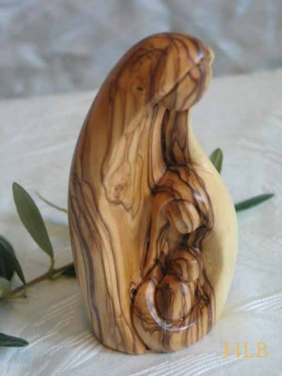 Olive Wood Holy Family Sculpture - A