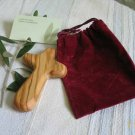 Olive Wood Holding Comfort Cross + Gift Bag
