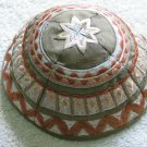 Yair Emanuel Silk Embroidered Kippa Brown Design -- YME2G