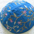 Yair Emanuel Silk Embroidered Blue Flowered Kippa -- YME3B