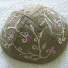 Yair Emanuel Silk Embroidered Kippa Olive Green Flowered -- YME3G