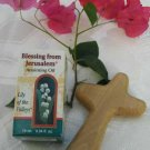 Olive Wood Comfort Cross & Lily of the Valley Anointing Oil