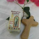 Olive Wood Comfort Holding Cross & Myrrh Anointing Oil
