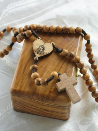 Olive Wood Rosary With Bethlehem Keepsake Jewelry Olive Wood Box