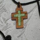 10 Pieces  Olive Wood Inlay Cut Out Cross Pendant Necklace