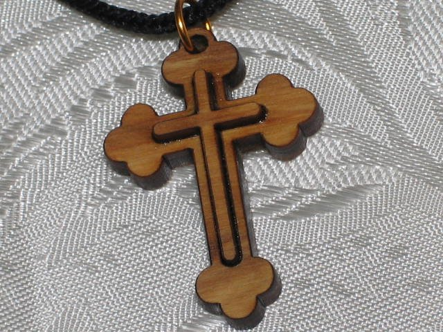 10 Pieces  Olive Wood Double Layered Cross Pendant Necklace