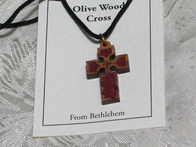 Olive Wood Inlay Cross Pendant Necklace