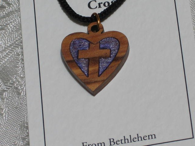 Olive Wood Inlay Heart Cross Pendant Necklace
