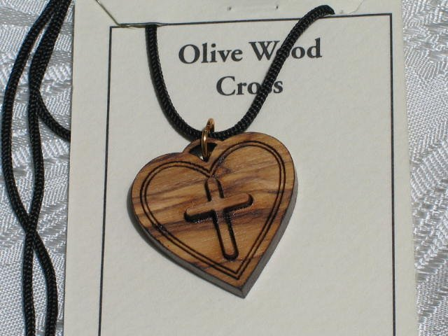 Double Layered Heart Cross Olive Wood Pendant Necklace