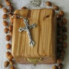 Olive Wood Box & Pewter Rosary From The Holy Land