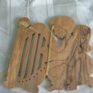 Angel Harp Christmas Ornament Carved Olive Wood