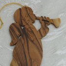 Angel With Horn II Christmas Ornament Carved Olive Wood