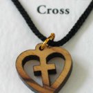Olive Wood Heart Cross Pendant Necklace