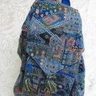 Extra Large Ethnic Back Pack Shoulder Tote Bag Blue D17