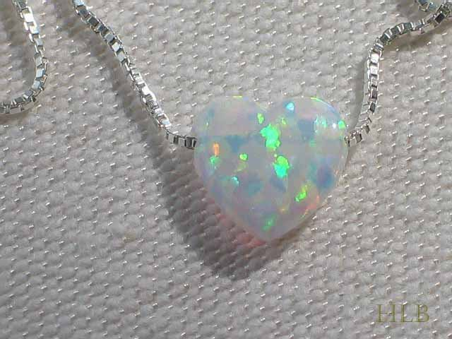 White Heart Opal Necklace with 925 Silver Chain