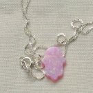 Petite Pink Opal Hamsa Necklace and 925 Silver Chain