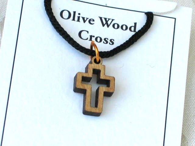 Olive Wood 'Cut Out' Cross Pendant Necklace