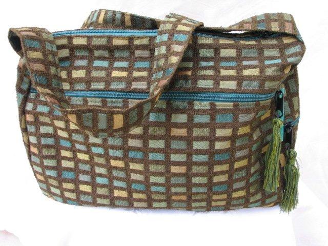 Nava -  Elegant Woven Brown / Green Olive  Fabric 4 Pockets Shoulder Handbag