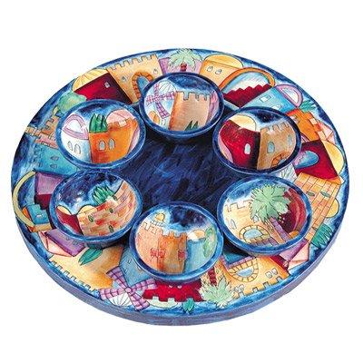 Emanuel Jerusalem Wood Seder Plate Israel SP5
