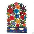 Emanuel Painted Metal Lazer Cut Shabbat Candlesticks - Flowers CLC2