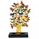 Yair Emanuel Shabbat Laser Cut Painted Candlesticks Birds CLC1A