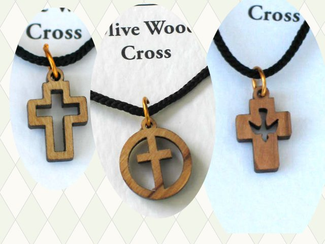 12 Olive Wood Mixed Cross Pendants Necklace