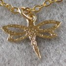 Gold Filled Dragonfly Pendant Necklace