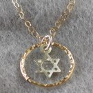 Gold Filled Ring with Silver Magen David Pendant Necklace