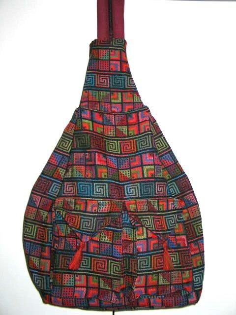 XL Ethnic Woven Backpack 3 Pockets Shoulder Tote U3R