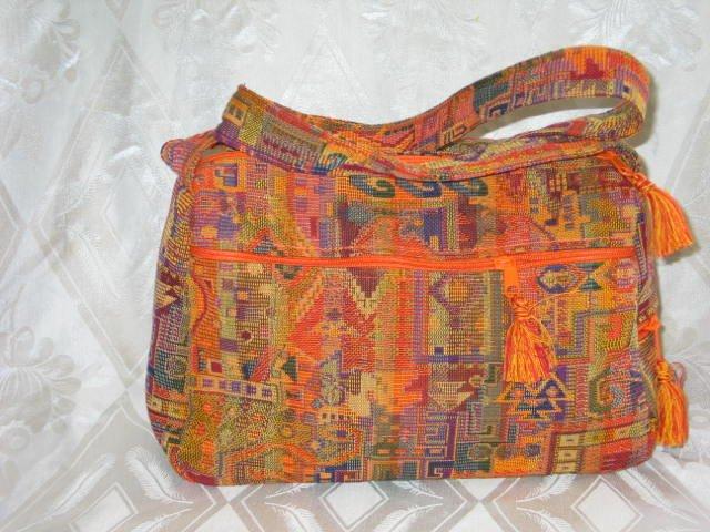 Sunny Druze Pattern Orange 4 Pockets Shoulder Handbag