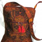 Hamsa Burgundy/Gold Hippy Shoulder Bag W/ Zipper