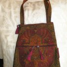 Hamsa Burgundy/ Gold Hippy Shoulder Tapered Bag W/ Zipper