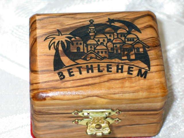 Jewelry Box Olive Wood Keepsake  Bethlehem Laser