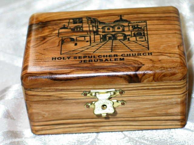 Olive Wood Large Holy Sepulcher Jewelry / Keepsake Box