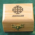 Olive Wood Jewelry Keepsake Box Jerusalem Cross Sm