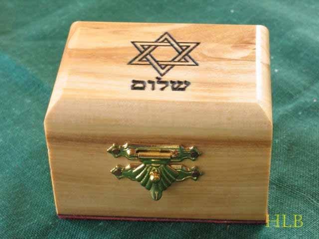 Olive Wood Star of David 'Shalom' Jewelry Keepsake Box Sm