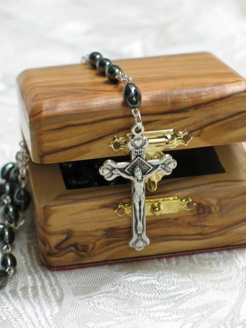 Bethlehem Hematite & Pewter Rosary and Olive Wood Box