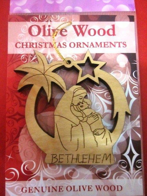 Olive Wood Bethlehem Mother & Child Christmas Star Ornament 2