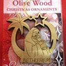 Olive Wood Bethlehem Mother & Child Christmas Star Ornament 2