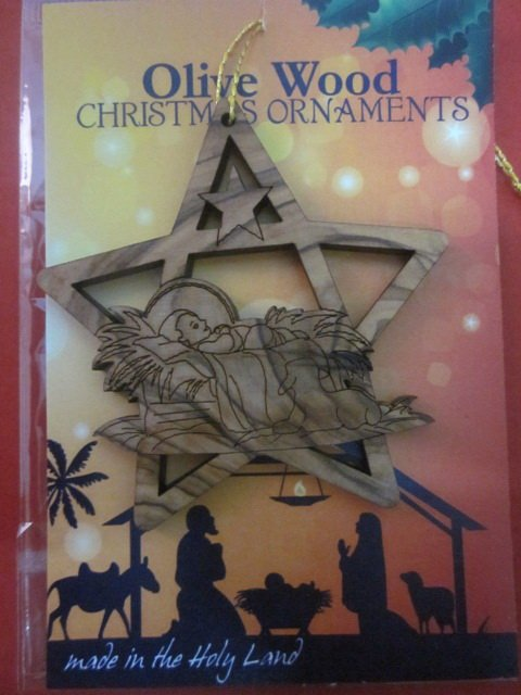 Olive Wood Bethlehem Baby Jesus Christmas Star Ornament 3